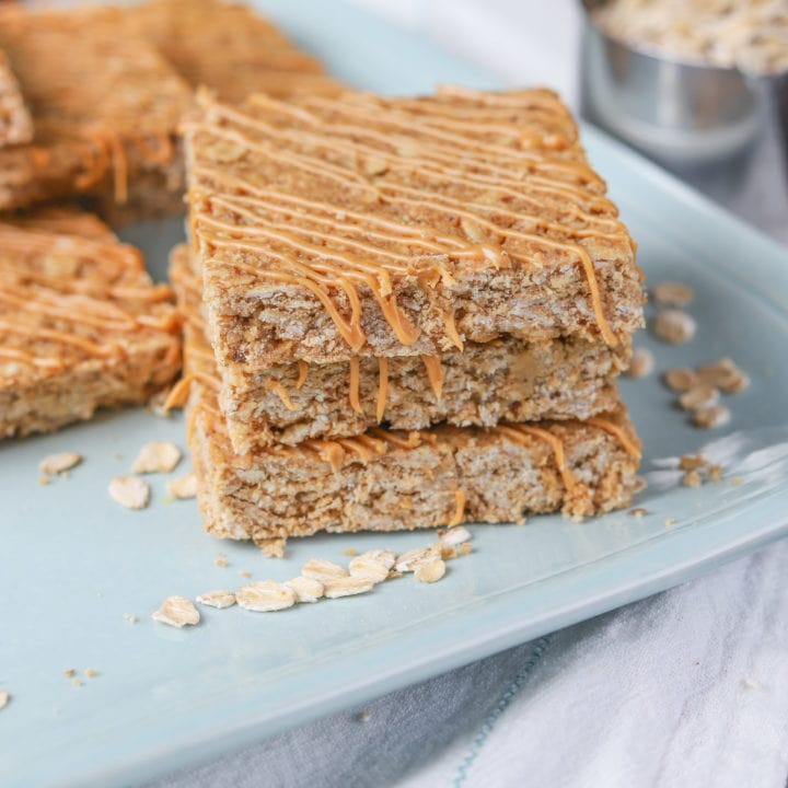 One Bowl Soft Baked Peanut Butter Granola Bars Recipe from A Kitchen Addiction