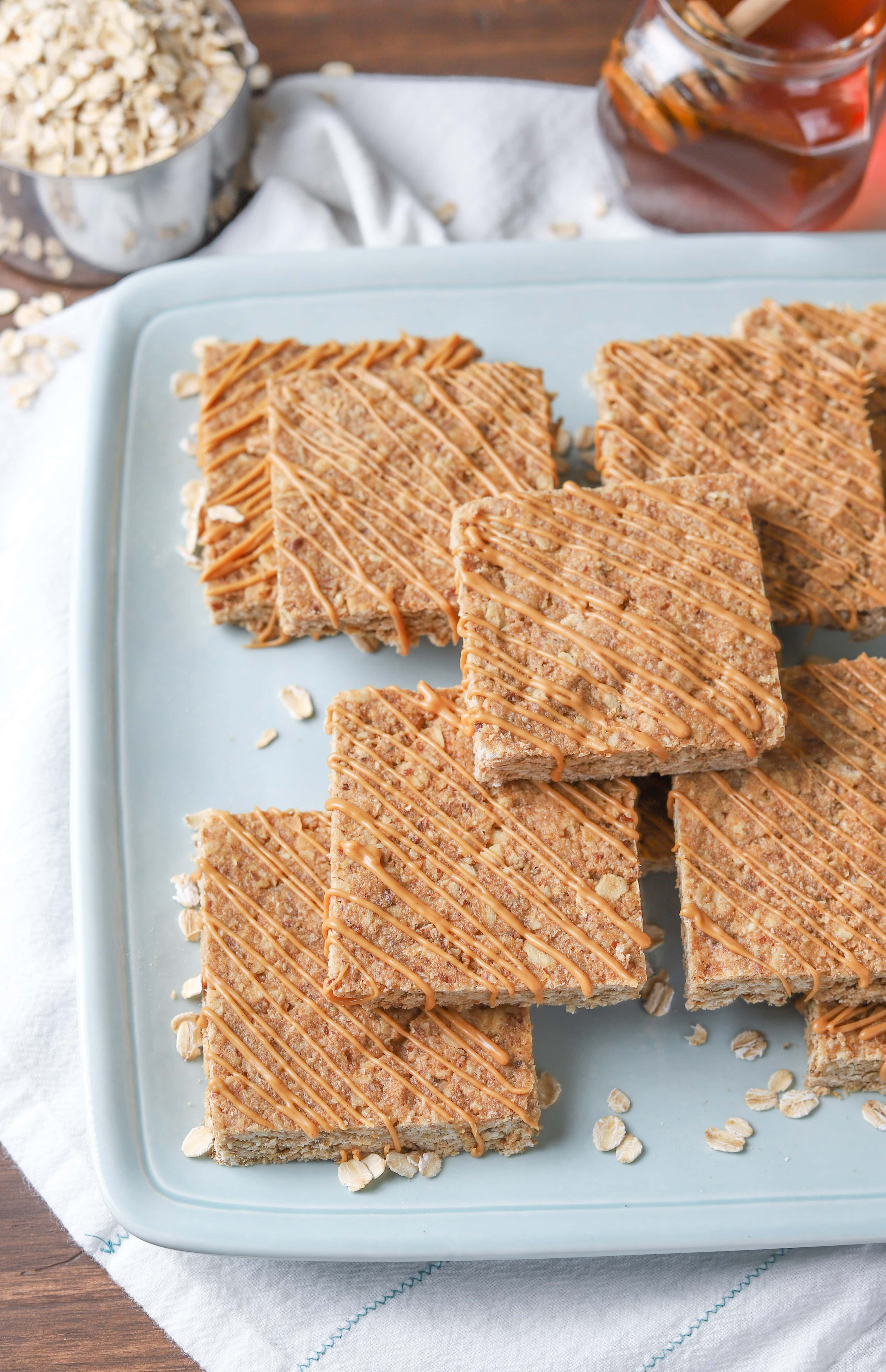 Whole Wheat Soft Baked Peanut Butter Granola Bars Recipe from A Kitchen Addiction