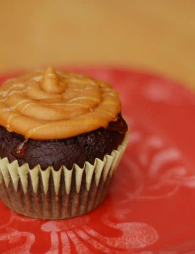 Chocolate-Graham Cupcakes with Honey Drizzled Peanut Butter Frosting