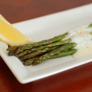 Roasted Asparagus with Garlic-Lemon Yogurt Sauce