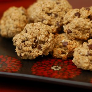 Chewy Banana-Mini Chip Oatmeal Cookies