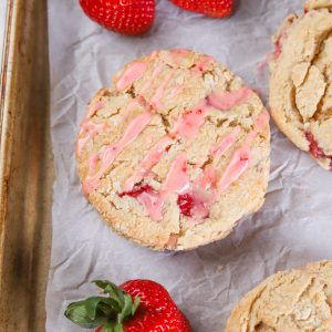 Fresh Strawberry Scones with Lemon Strawberry Glaze