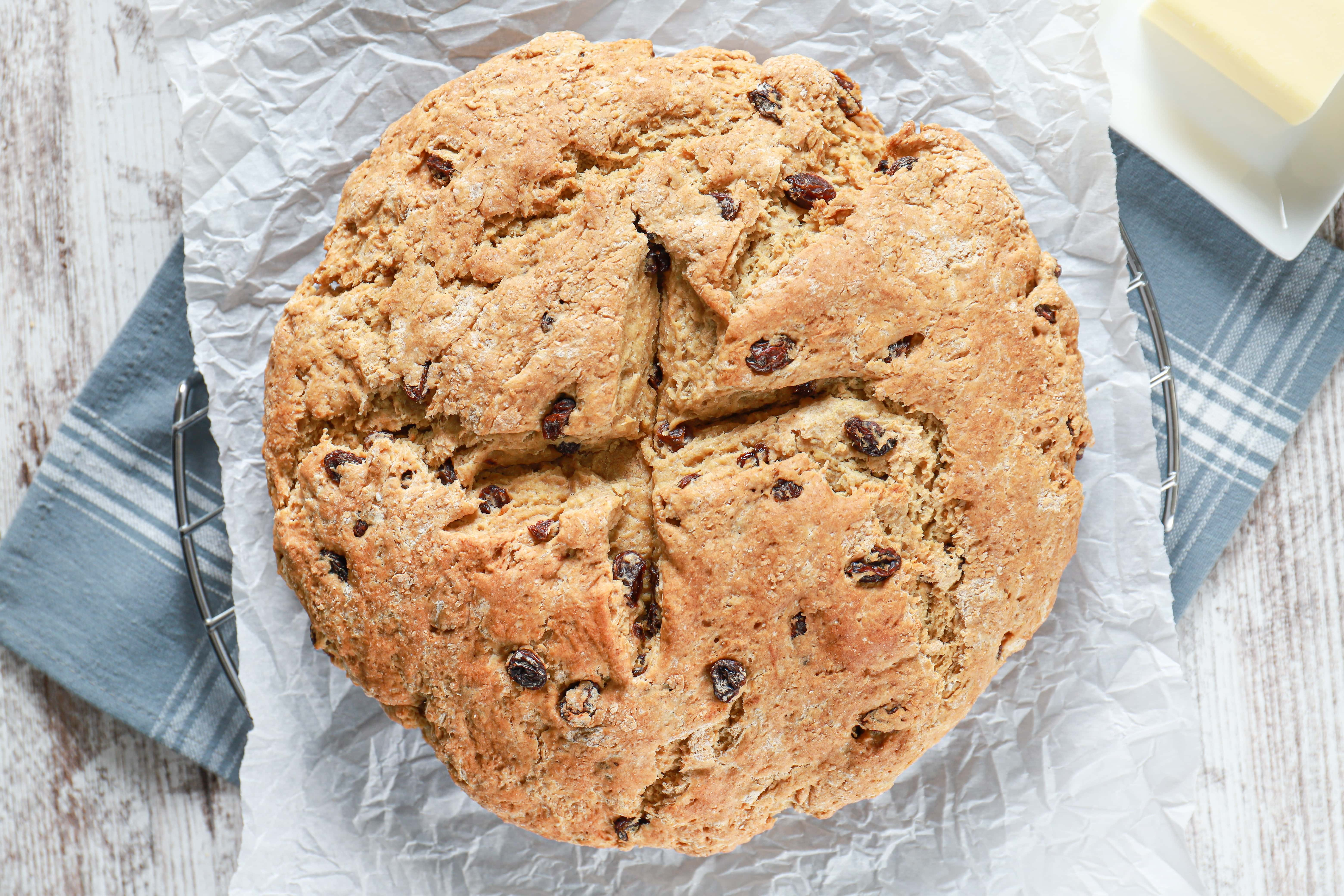Overhead view of a loaf of irish soda bread. Recipe from A Kitchen Addiction