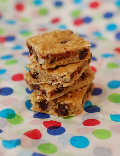 Coconut Dark Chocolate Chip Blondies