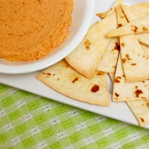 Creamy Chili Lime Hummus with Homemade Baked Tortilla Chips