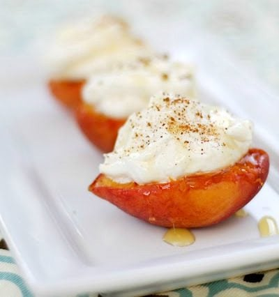 Grilled Peaches with Honey-Ginger Cream Cheese Fluff