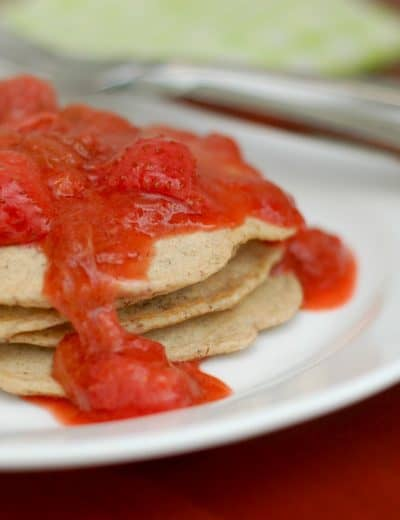 Multi-Grain Pancakes with Strawberry Rhubarb Compote