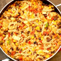 Cheesy Salsa and Chicken Pasta Skillet