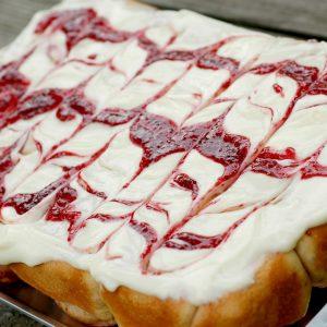 Raspberry Cinnamon Rolls with Raspberry Swirled Cream Cheese Frosting