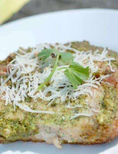 Grilled Cilantro Pesto Pork Chops