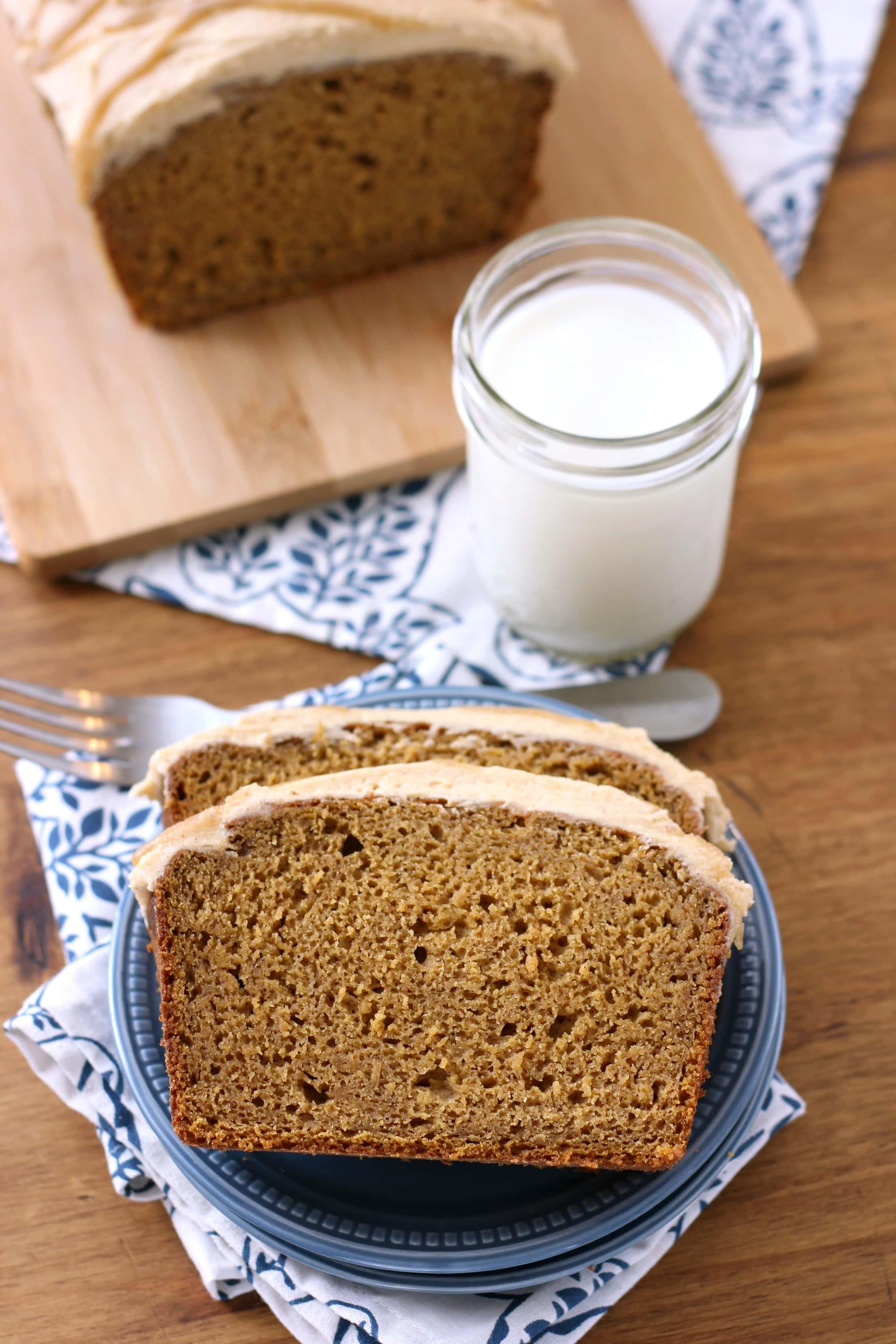 Pumpkin Bread with Salted Caramel Drizzled Pumpkin Buttercream Recipe from A Kitchen Addiction