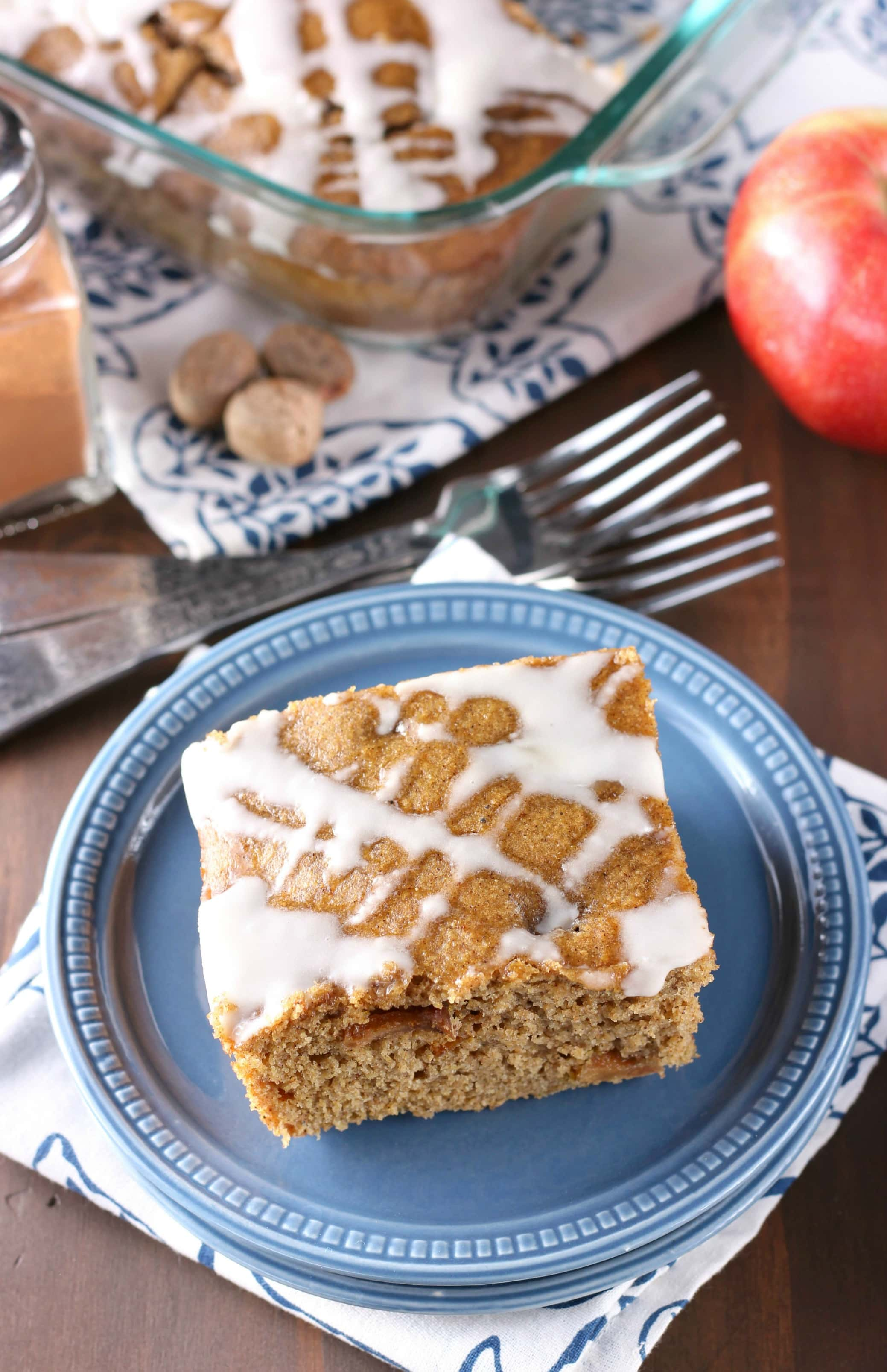 Brown Butter Apple Yogurt Snack Cake Recipe from A Kitchen Addiction