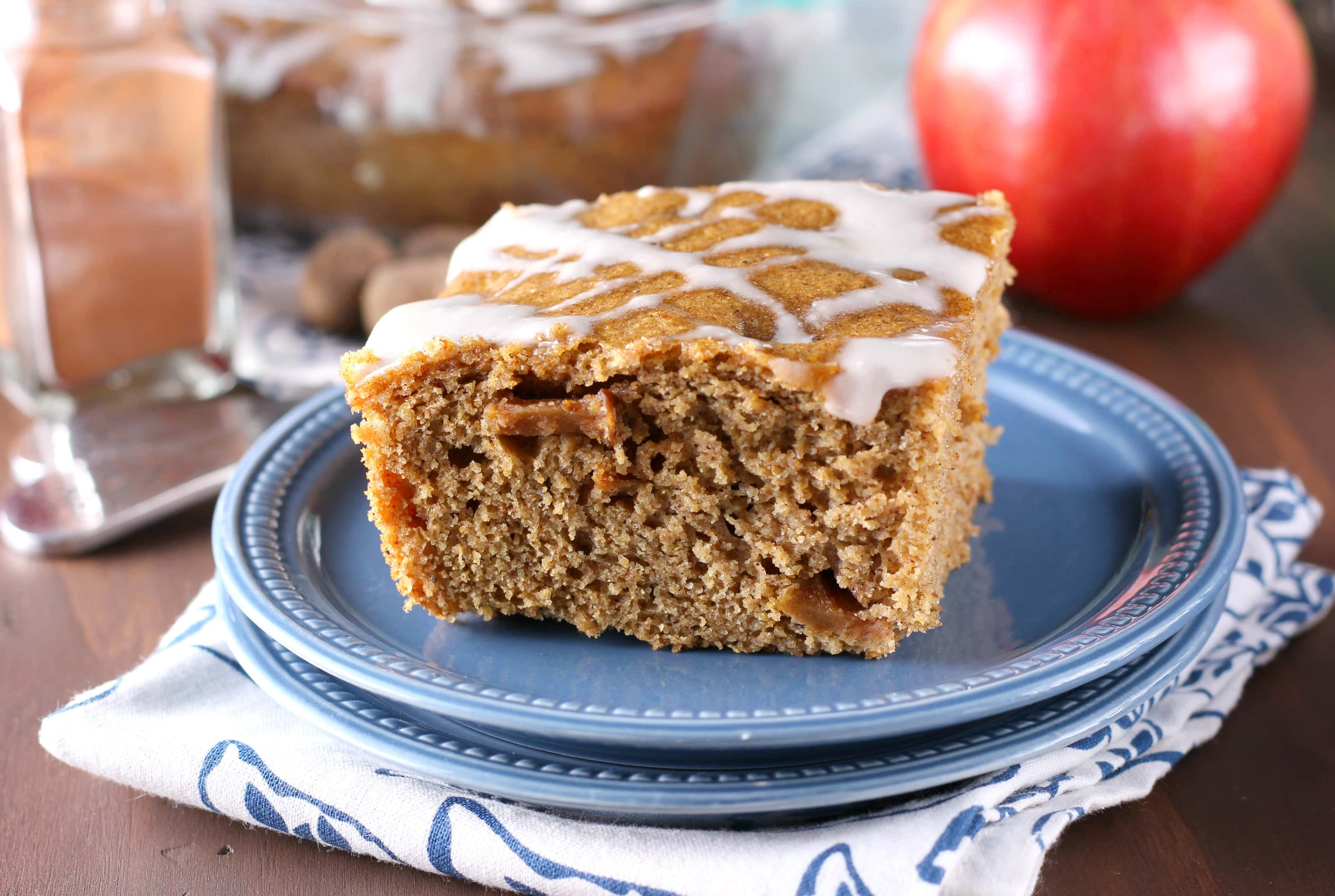Whole Wheat Brown Butter Apple Yogurt Snack Cake Recipe from A Kitchen Addiction
