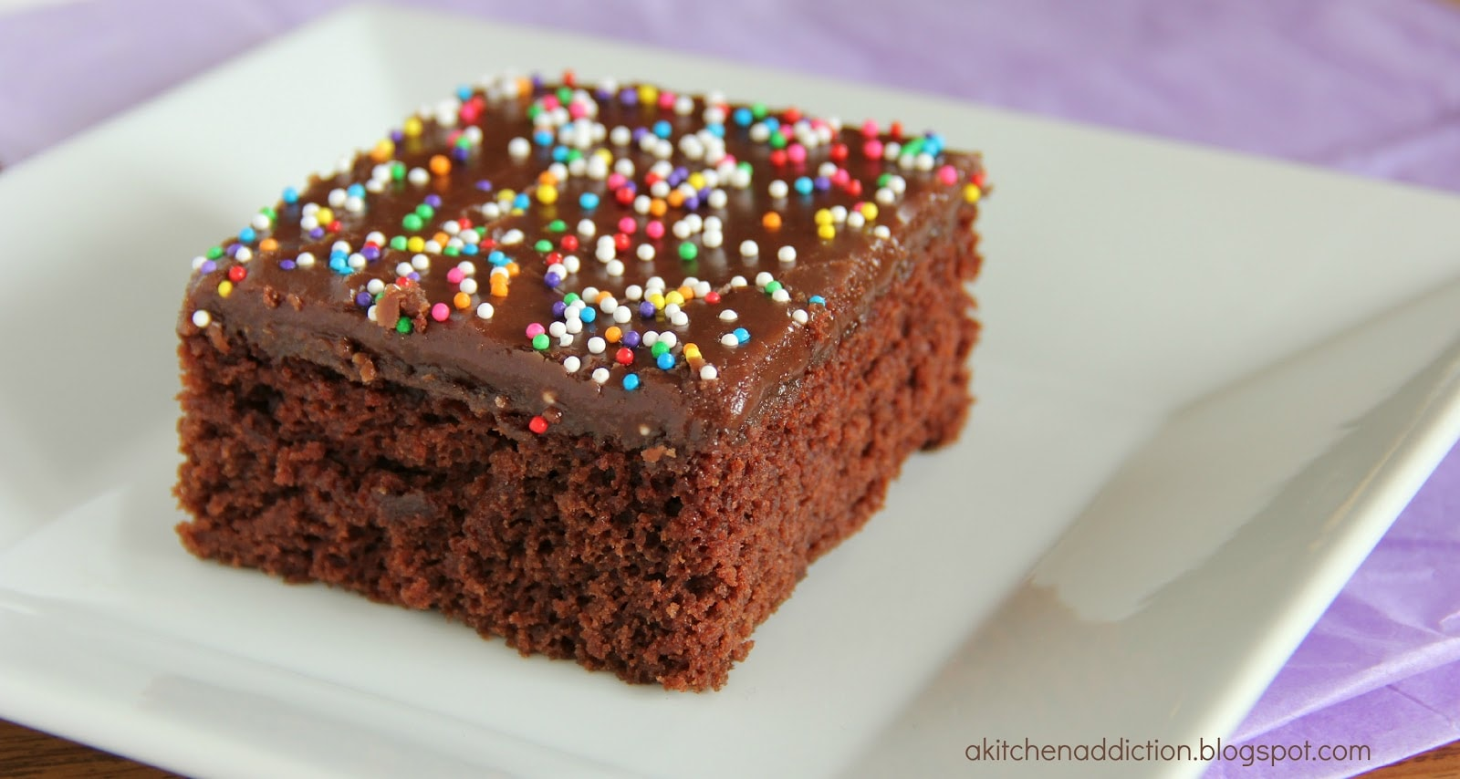 Chocolate Wacky Cake with Fudge Frosting - A Kitchen Addiction