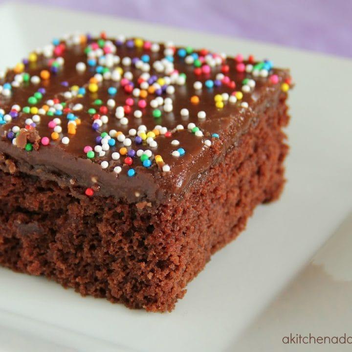 piece of chocolate wacky cake on a white plate