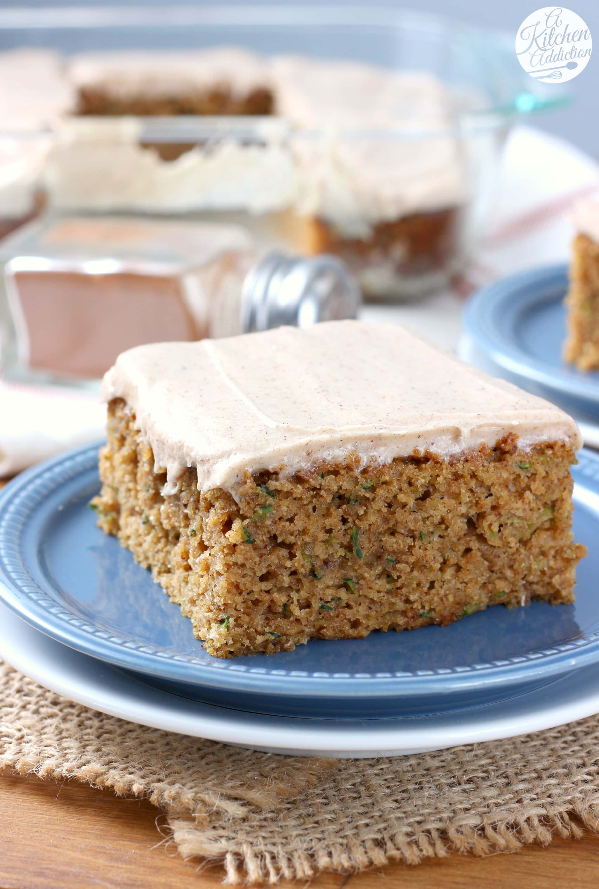 Zucchini Cake with Spiced Cream Cheese Frosting Recipe from A Kitchen Addiction
