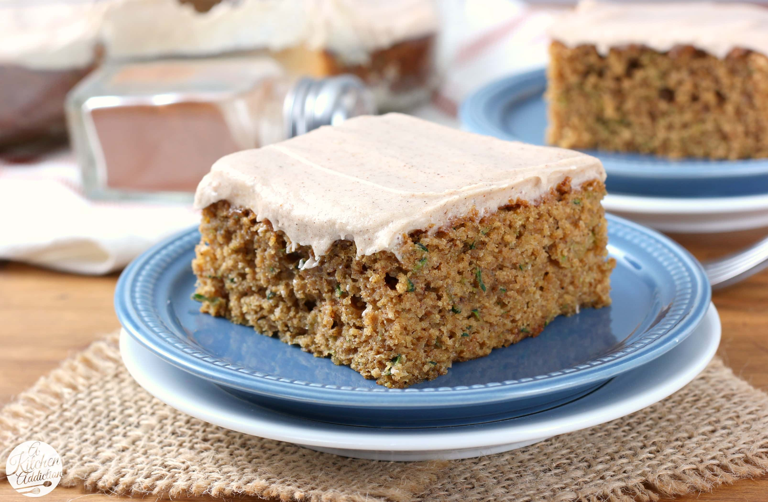 Spiced Cream Cheese Frosted Zucchini Bars Recipe from A Kitchen Addiction