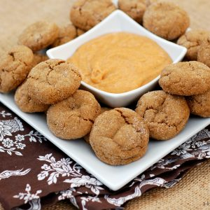 Soft Baked Ginger Cookies with Pumpkin Pie Dip