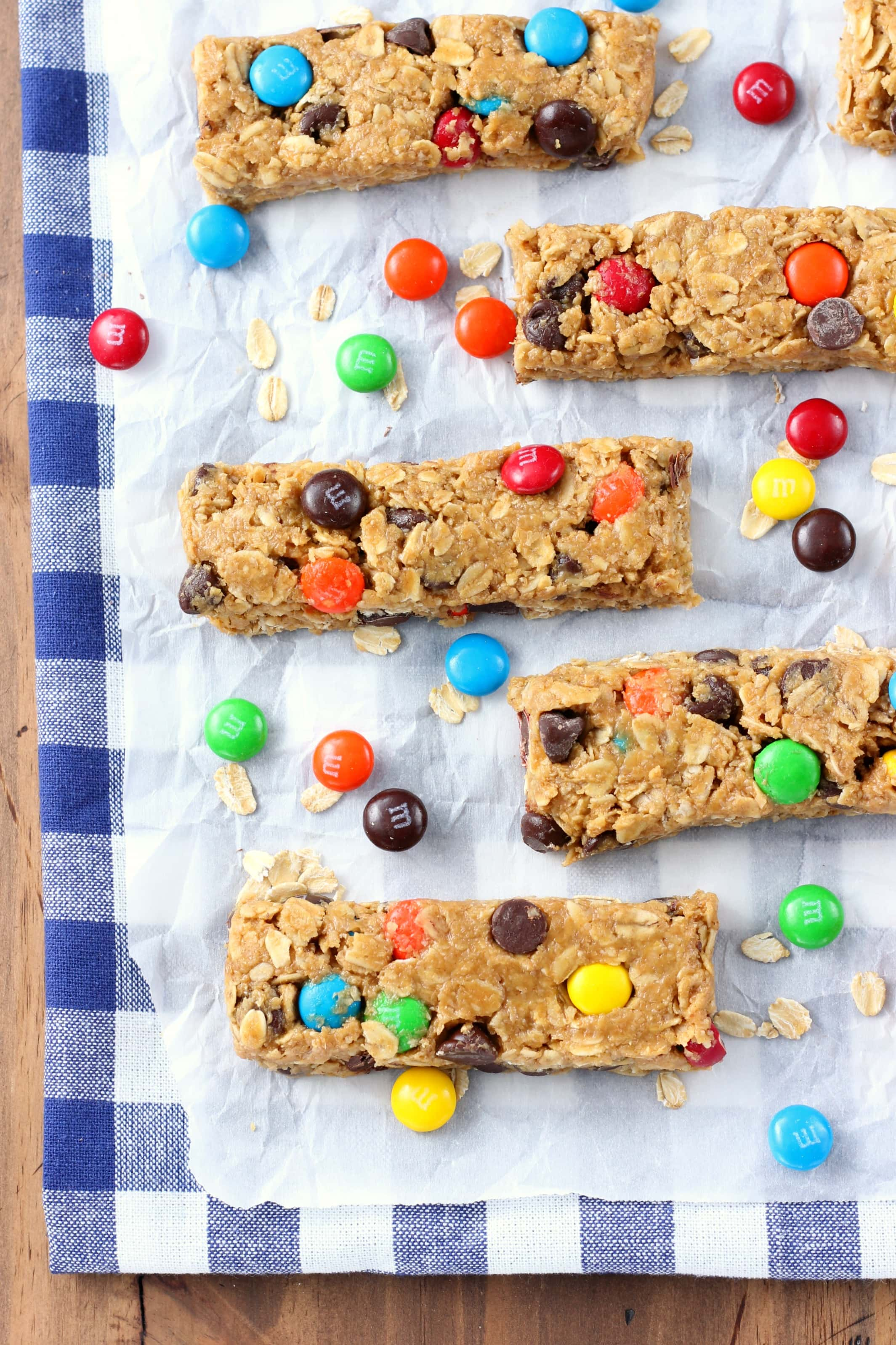 No Bake Monster Cookie Granola Bars Recipe from A Kitchen Addiction
