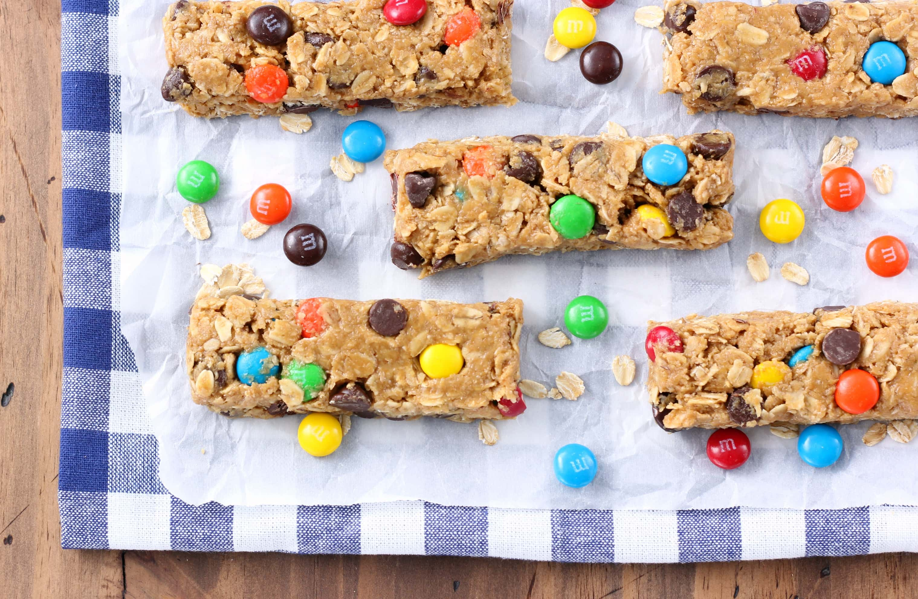 Monster Cookie Granola Bars Recipe from A Kitchen Addiction