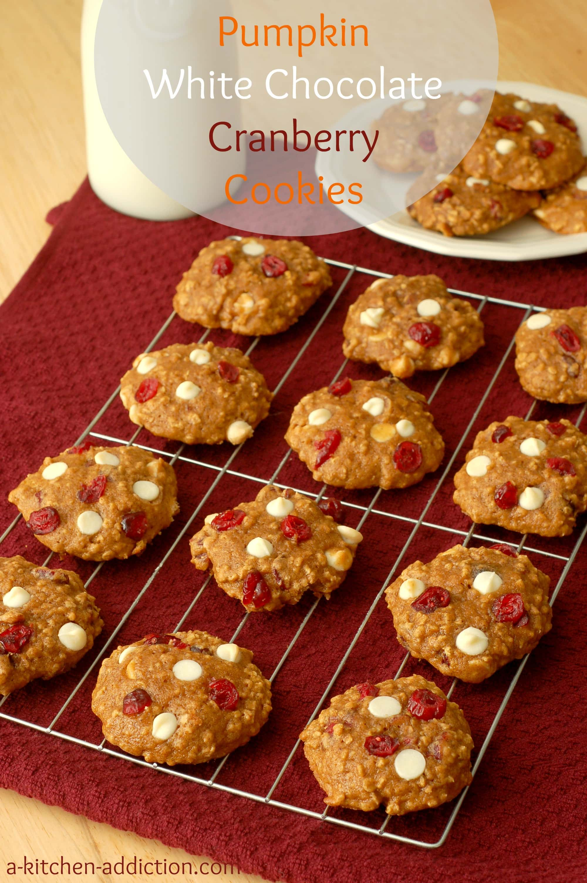 Pumpkin White Chocolate Cranberry Cookies - A Kitchen Addiction