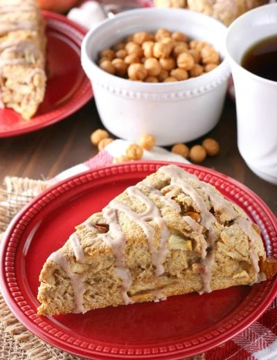 Spice Glazed Caramel Apple Scones Recipe from A Kitchen Addiction