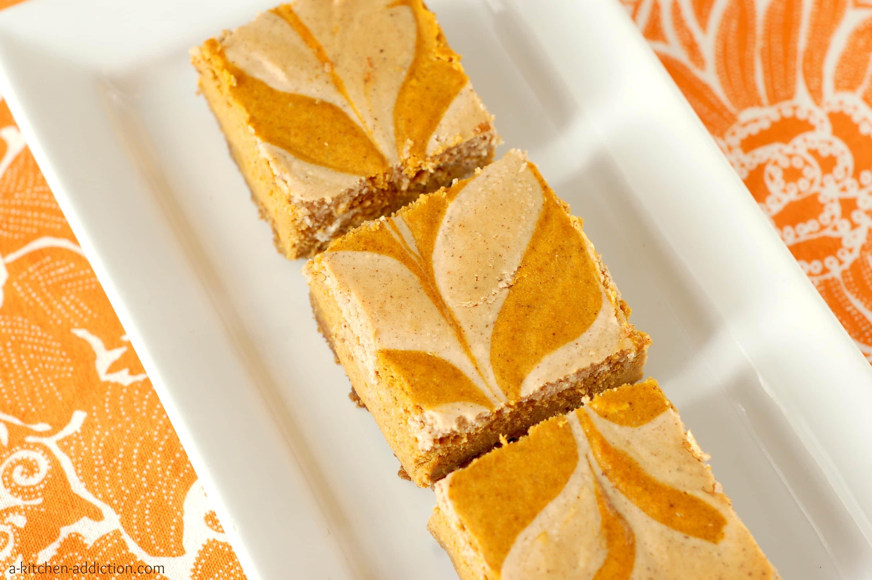 Chai Spiced Pumpkin Cheesecake Bars - A Kitchen Addiction