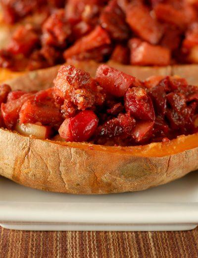 Cranberry Apple Pecan Stuffed Sweet Potatoes