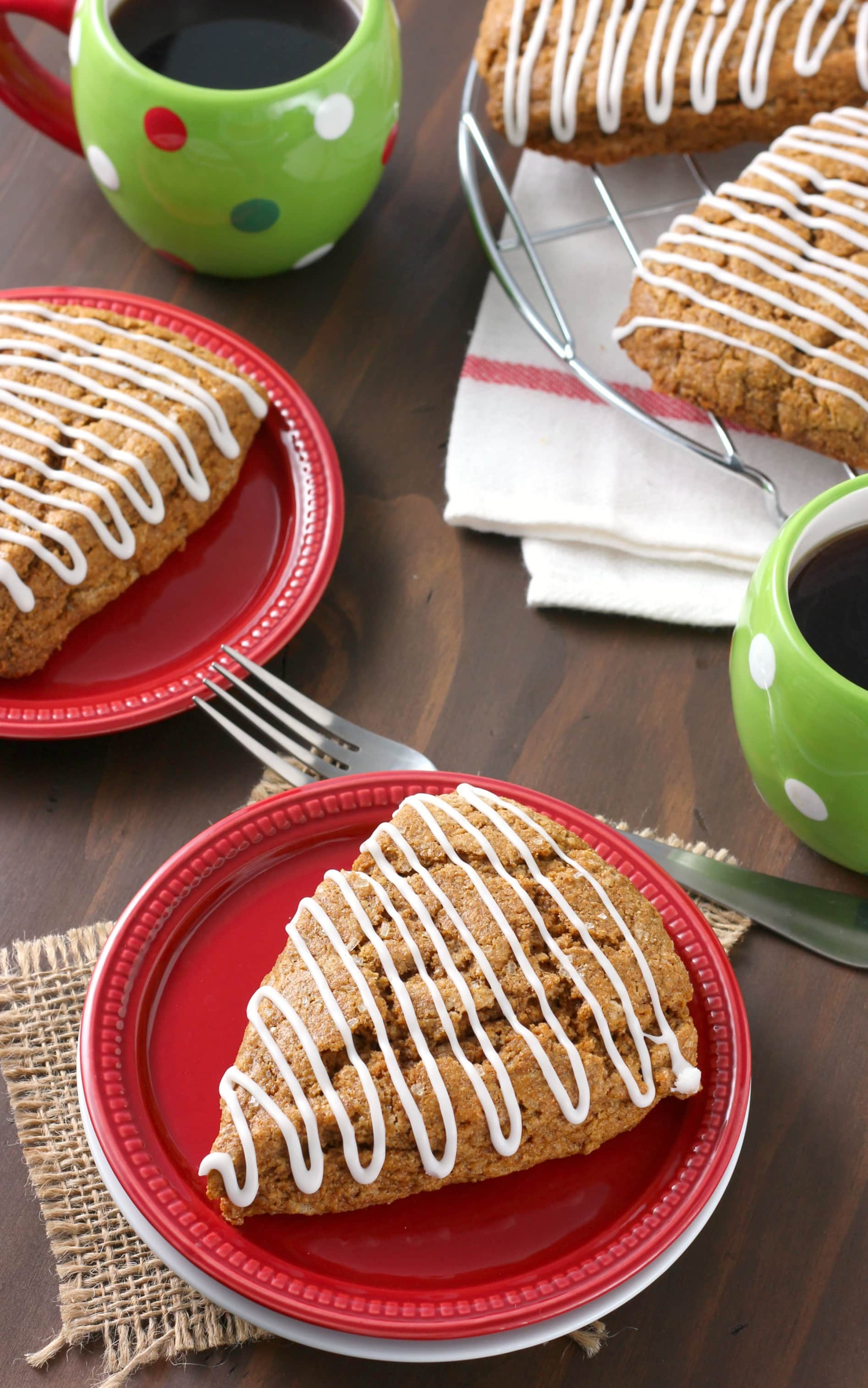 Whole Wheat Gingerbread Scones Recipe from A Kitchen Addiction
