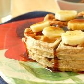 Banana Bread Waffles with Cinnamon-Brown Sugar Syrup