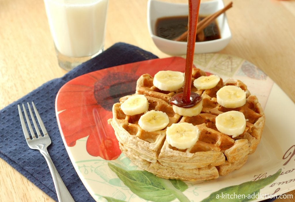 Banana Bread Waffles with Cinnamon-Brown Sugar Syrup