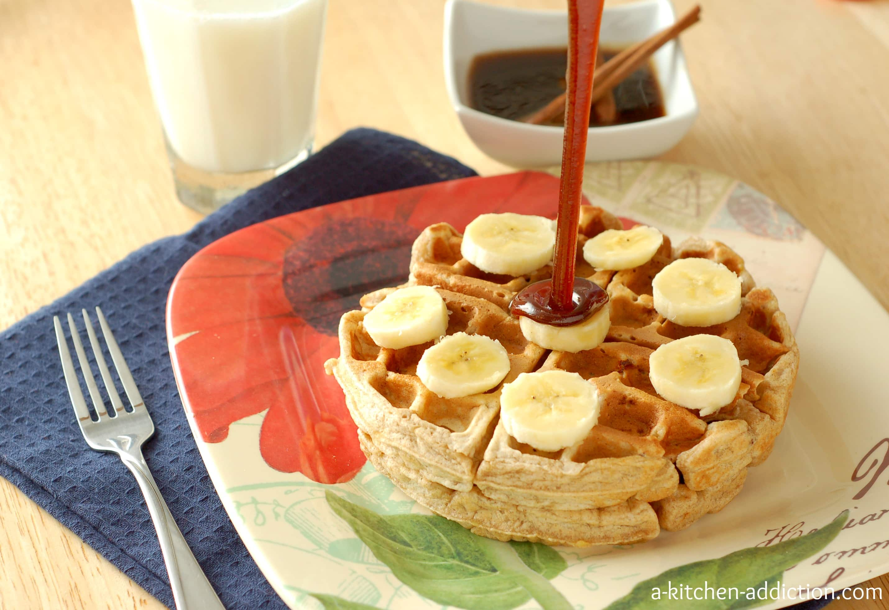 Banana bread waffles with cinnamon brown sugar syrup a for A kitchen addiction