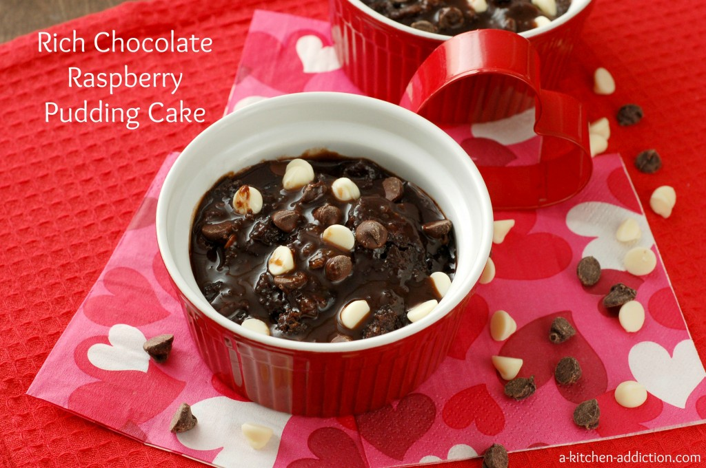 Chocolate Raspberry Pudding Cake #valentinesday