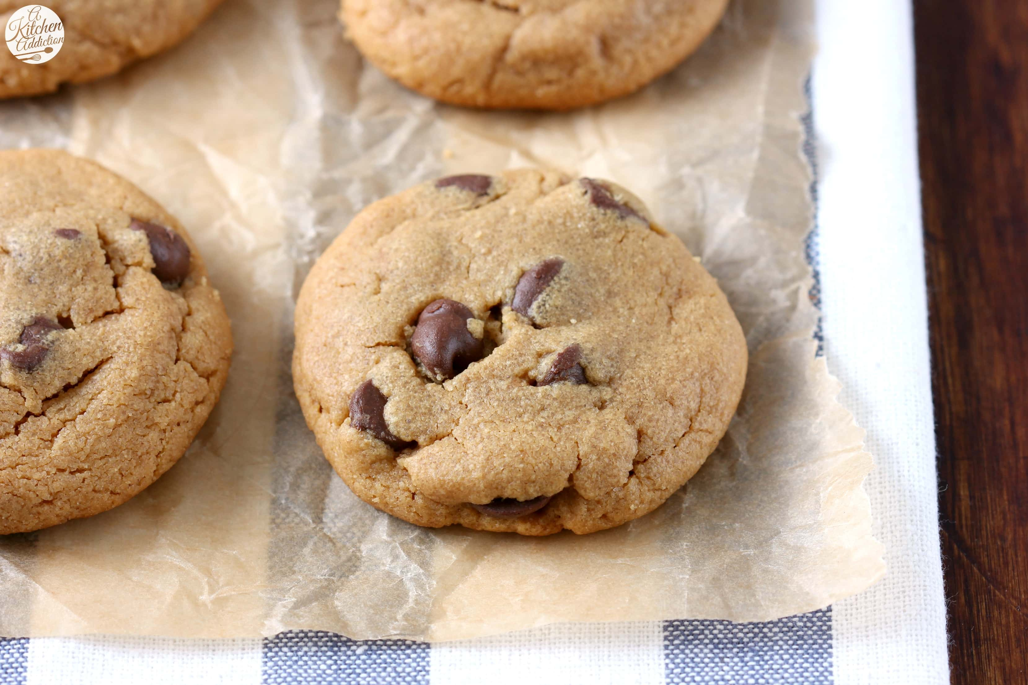 One Bowl Flourless Peanut Butter Chocolate Chip Cookies Recipe from A Kitchen Addiction