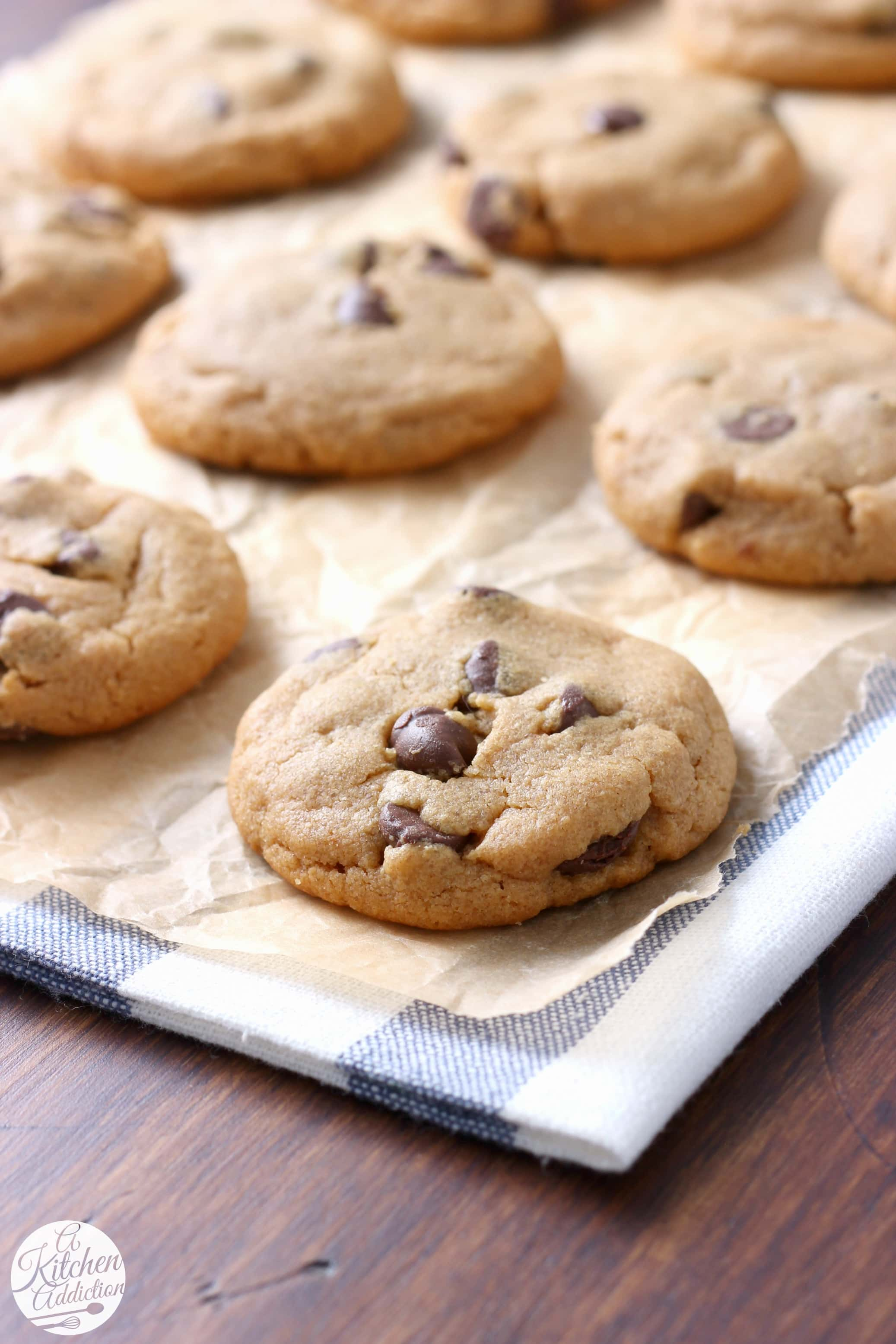 Flourless Peanut Butter Chocolate Chip Cookies Recipe from A Kitchen Addiction