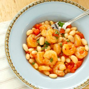 Spicy Garlic Shrimp and White Beans with Tomatoes