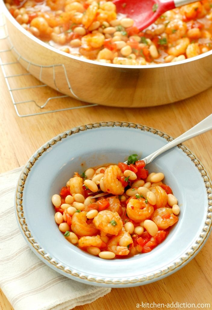 Garlic Shrimp with White Beans and Tomatoes #recipe