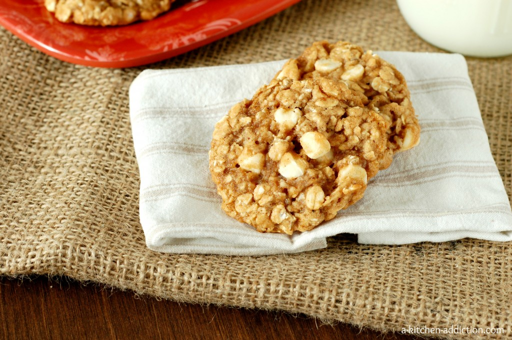 Spiced White Chocolate Chip Oatmeal Cookies