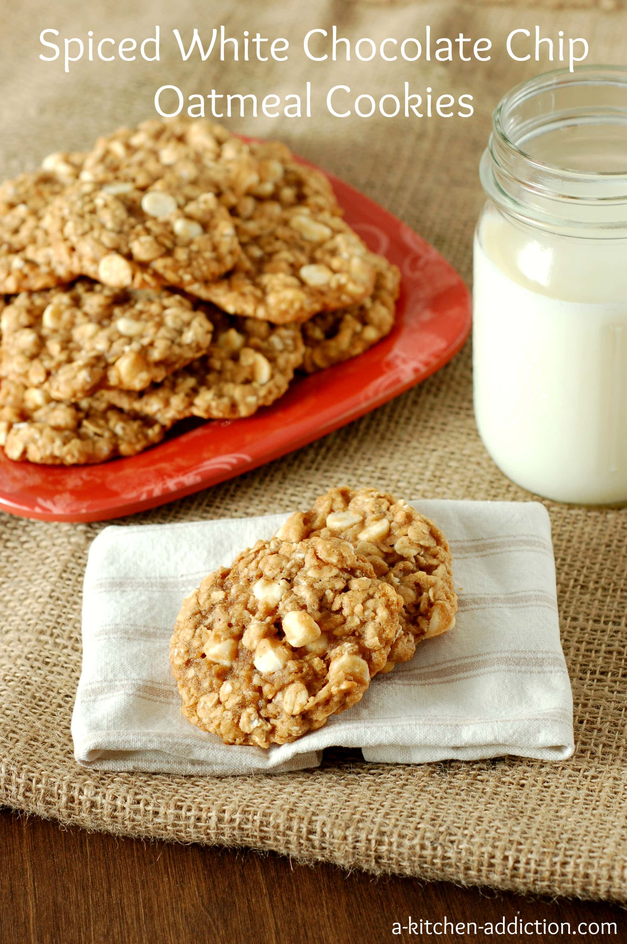 Spiced White Chocolate Chip Oatmeal Cookies from www.a-kitchen ...