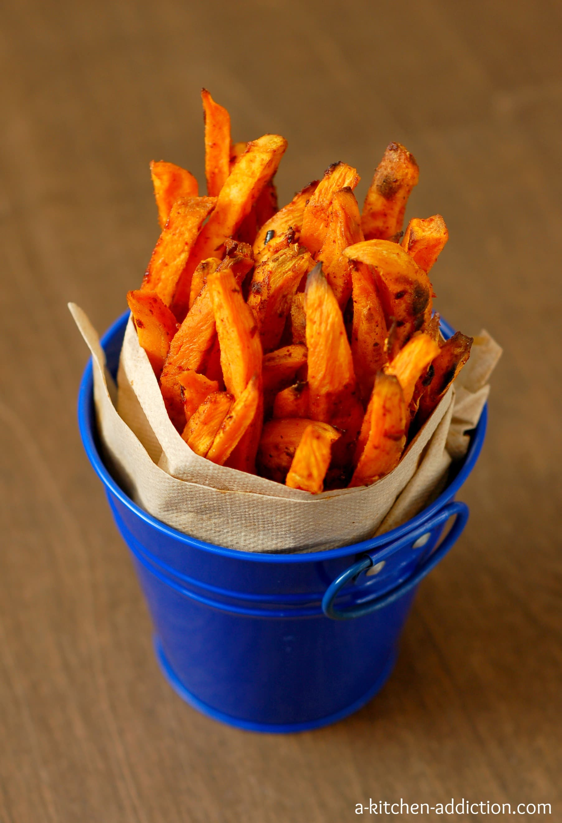 Spicy Sweet Potato Fries from www.a-kitchen-addiction.com