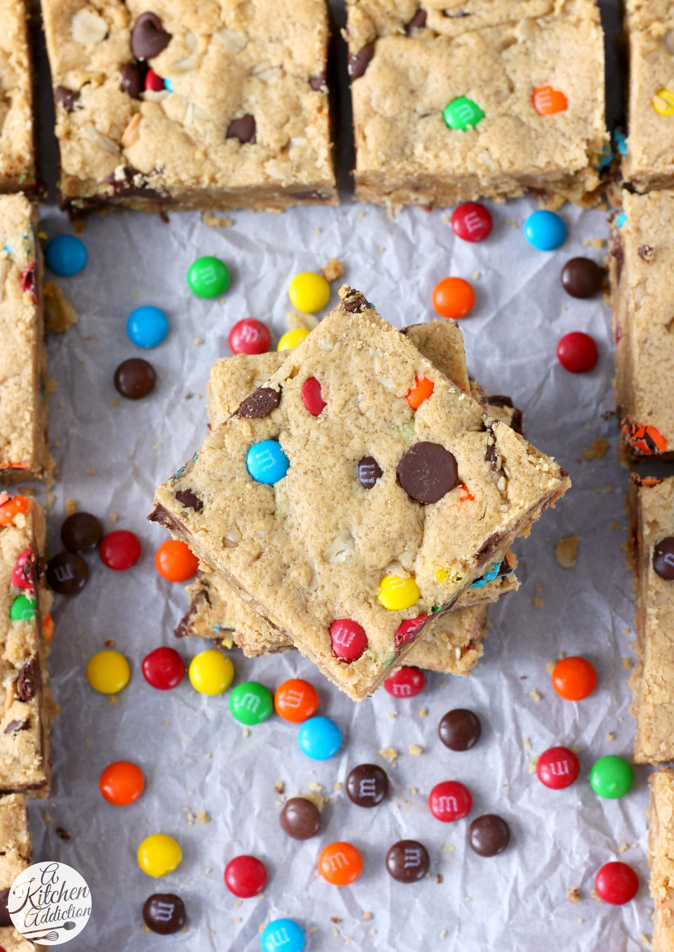 Easy Monster Cookie Bars Recipe from A Kitchen Addiction