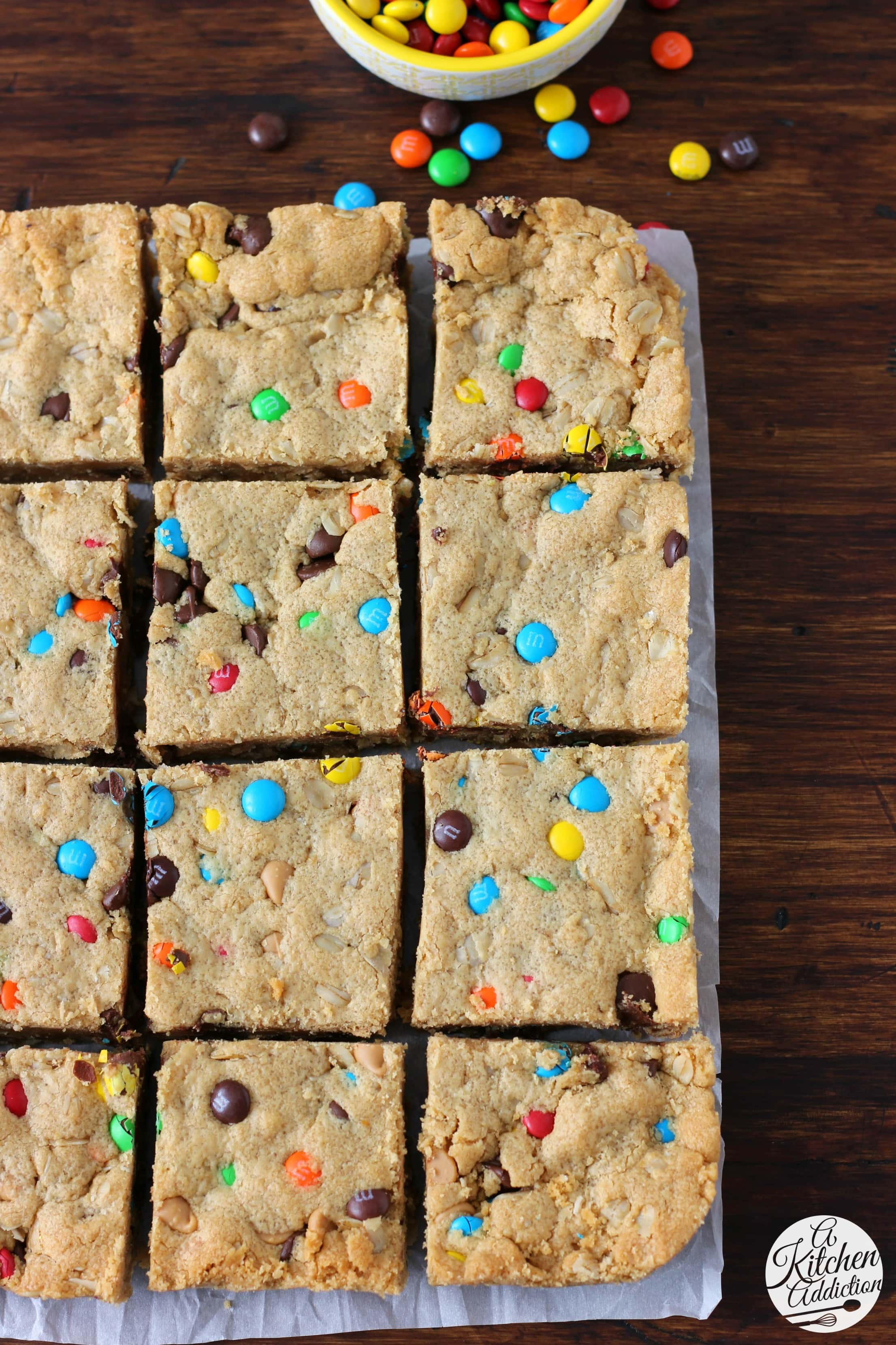 Quick and Easy Monster Cookie Bars Recipe from A Kitchen Addiction