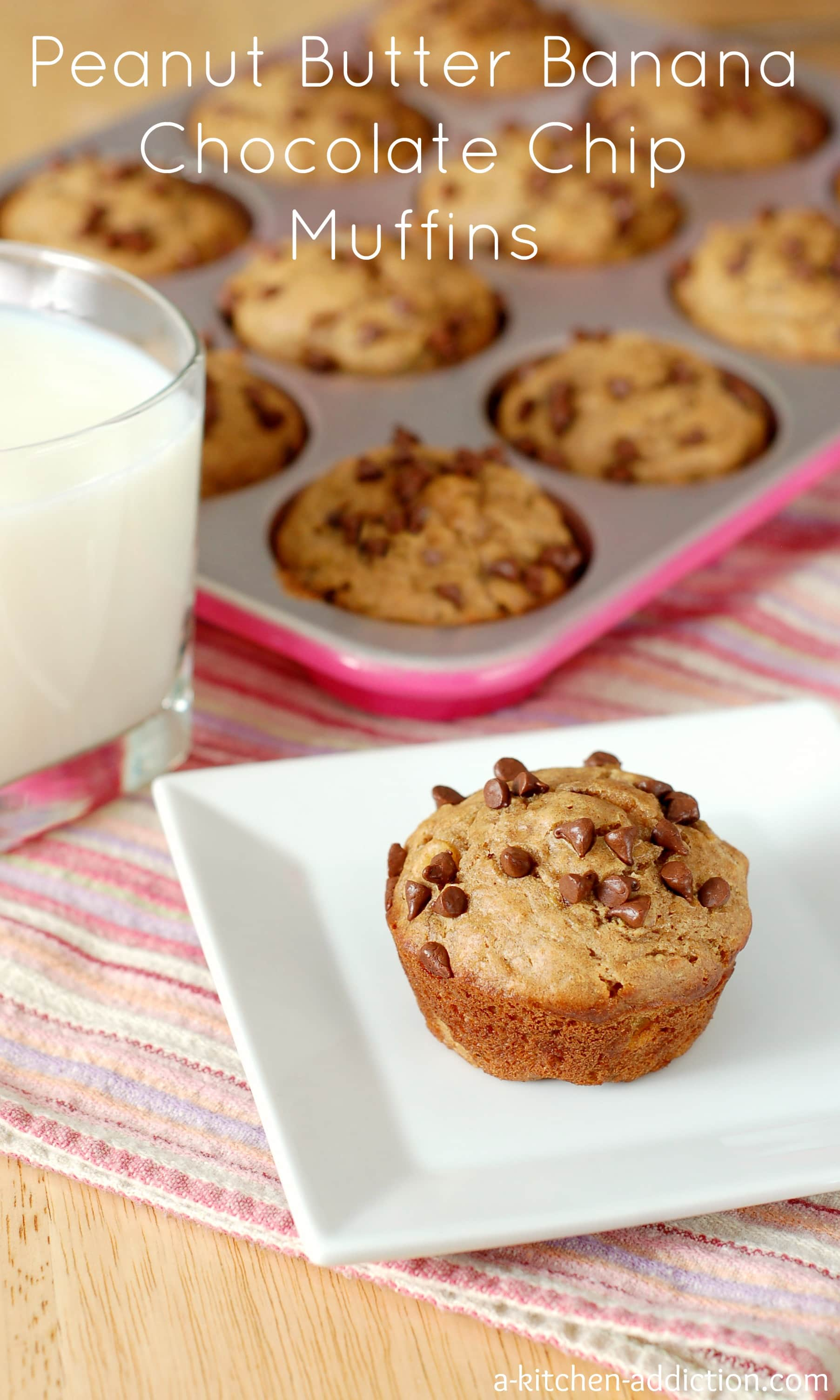 Peanut Butter Banana Chocolate Chip Muffins from www.a-kitchen ...
