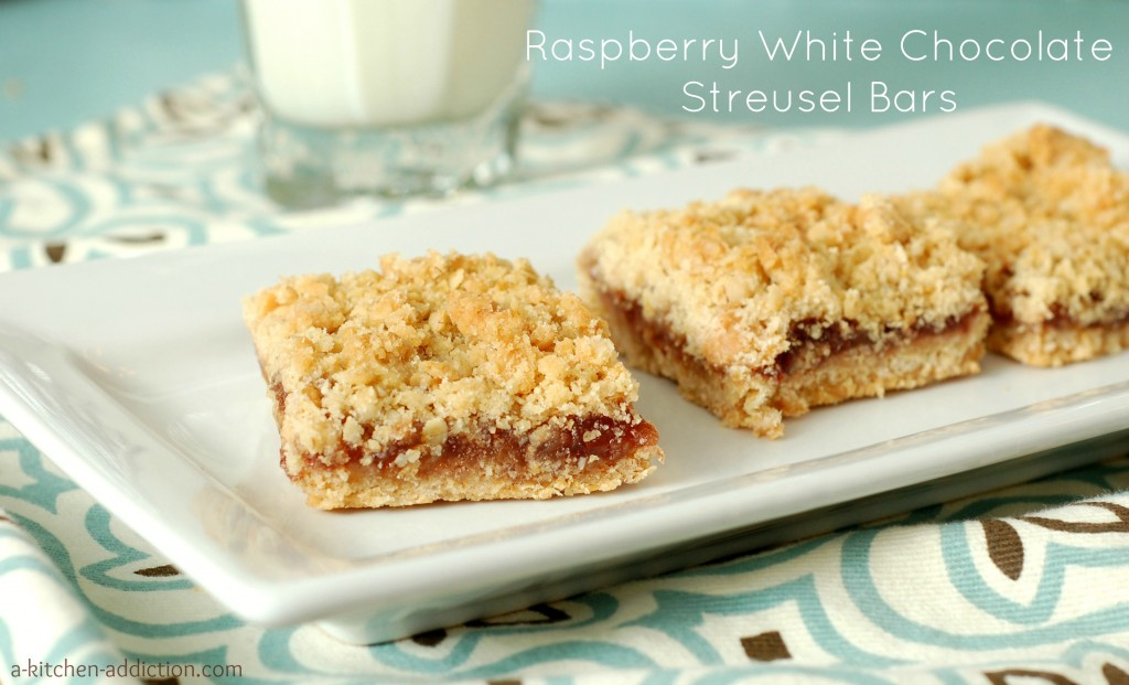 Raspberry White Chocolate Streusel Bars from www.a-kitchen-addiction ...