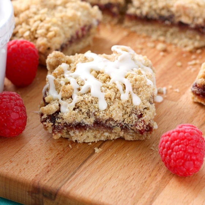 Raspberry White Chocolate Streusel Bars Recipe from A Kitchen Addiction