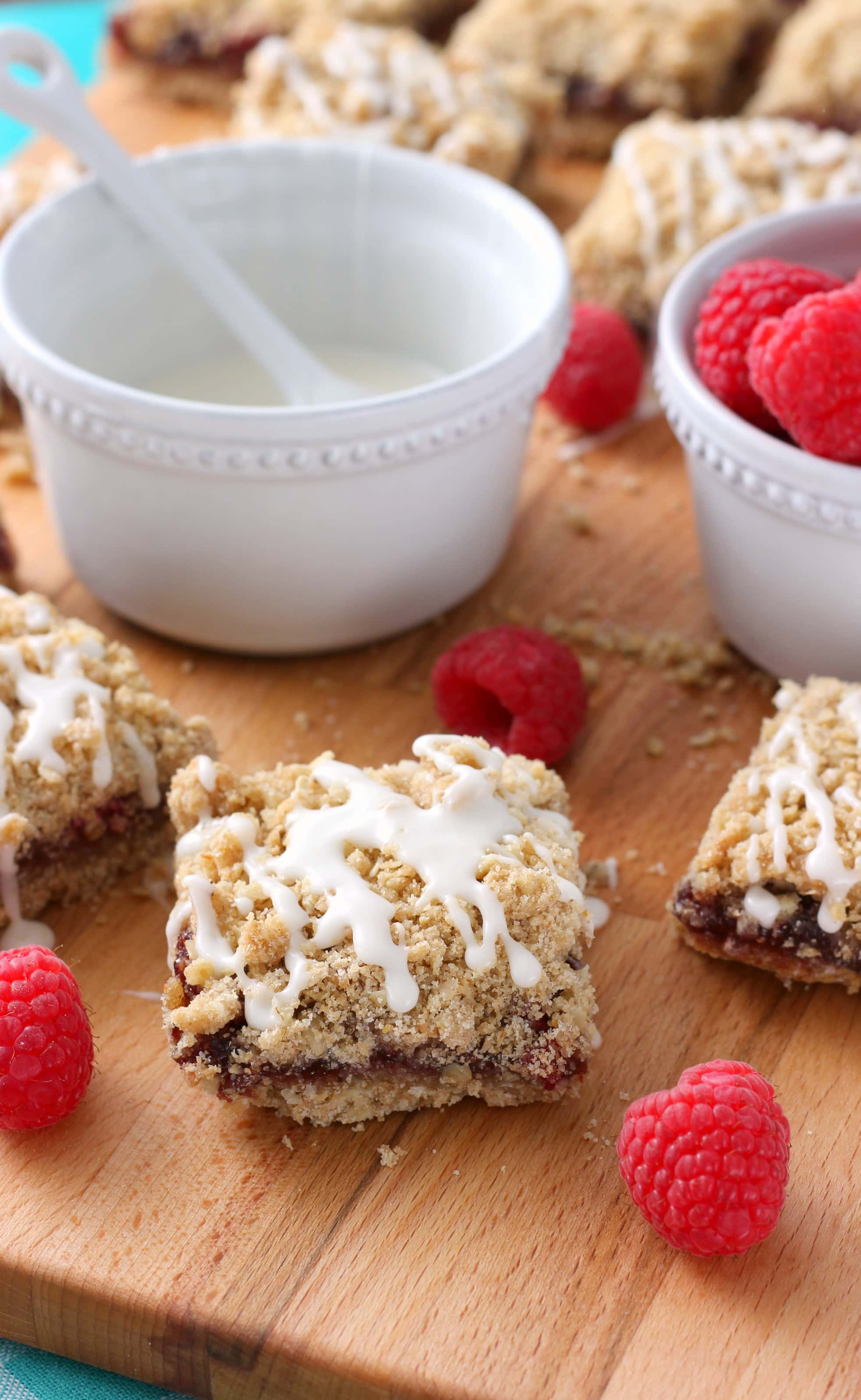 Easy Raspberry White Chocolate Crumble Bars Recipe from A Kitchen Addiction