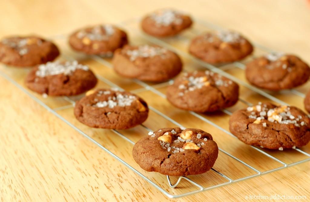 Salted Dark Chocolate Peanut Butter Chip Cookies