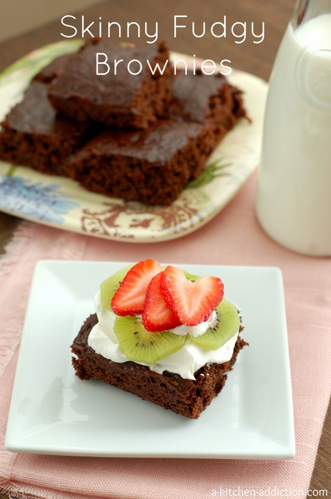 Skinny Fudgy Brownies #easy #recipe #valentinesday