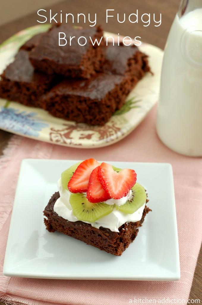 Skinny Fudgy Brownies #easy #recipe #valentinesday