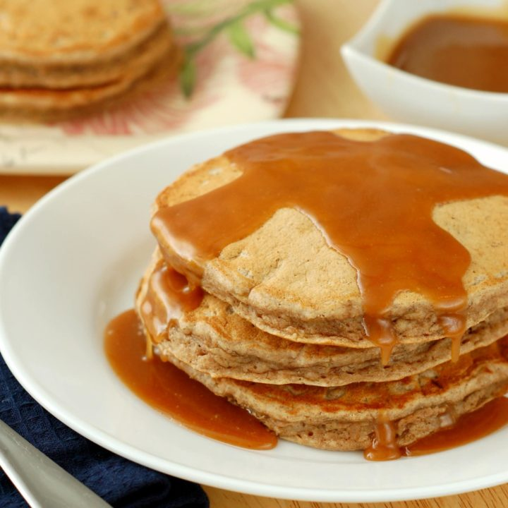 Banana Bread Pancakes with Peanut Butter Syrup Recipe l www.a-kitchen-addiction.com